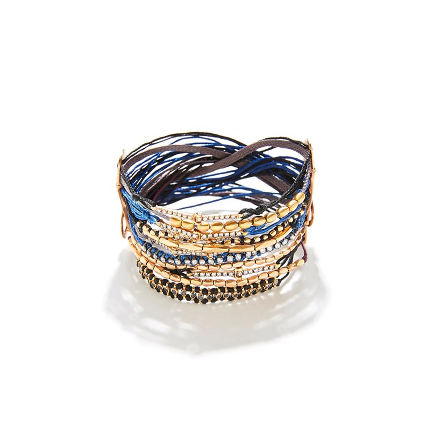 Multi cord blue mix bracelet