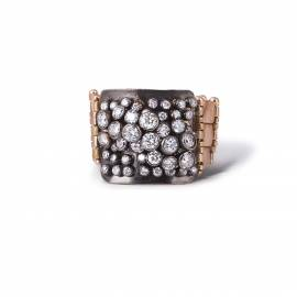 Diamond ring in 18k rose gold with fine make brilliant-cut diamonds and black platinum plated on top