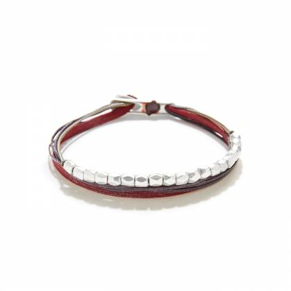 7 CORDS WITH BIG BEADS RED/GRAY