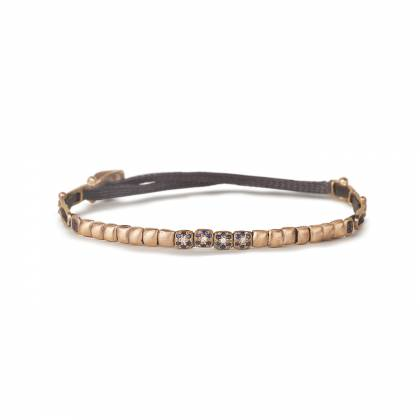 Bracelet in 18k rose gold with 0,02ct fine make brilliant-cut diamonds and 0,12ct sapphires