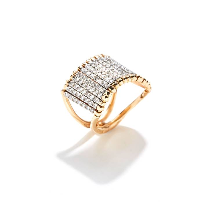 BARRET RING WITH SMALL WHITE TRAINS TOP
