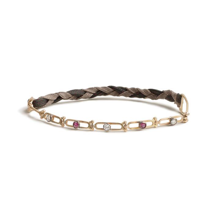 Chain rivière diamonds and rubies