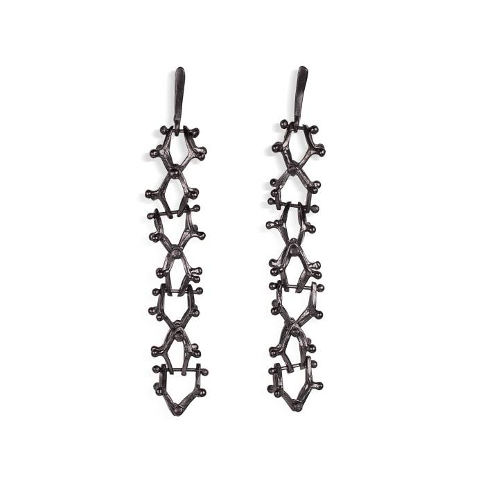 Earringd in 925 sterling silver, black platinum plated