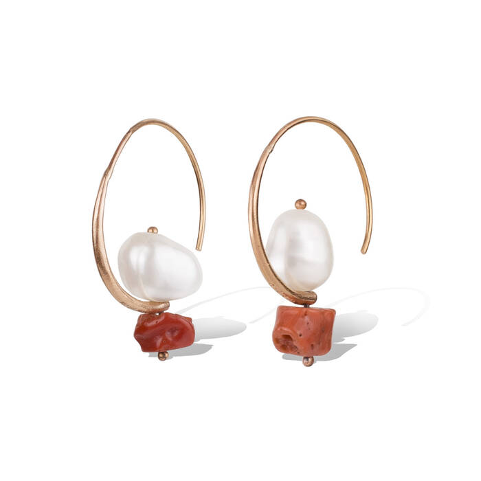 Pearl and coral on hoop